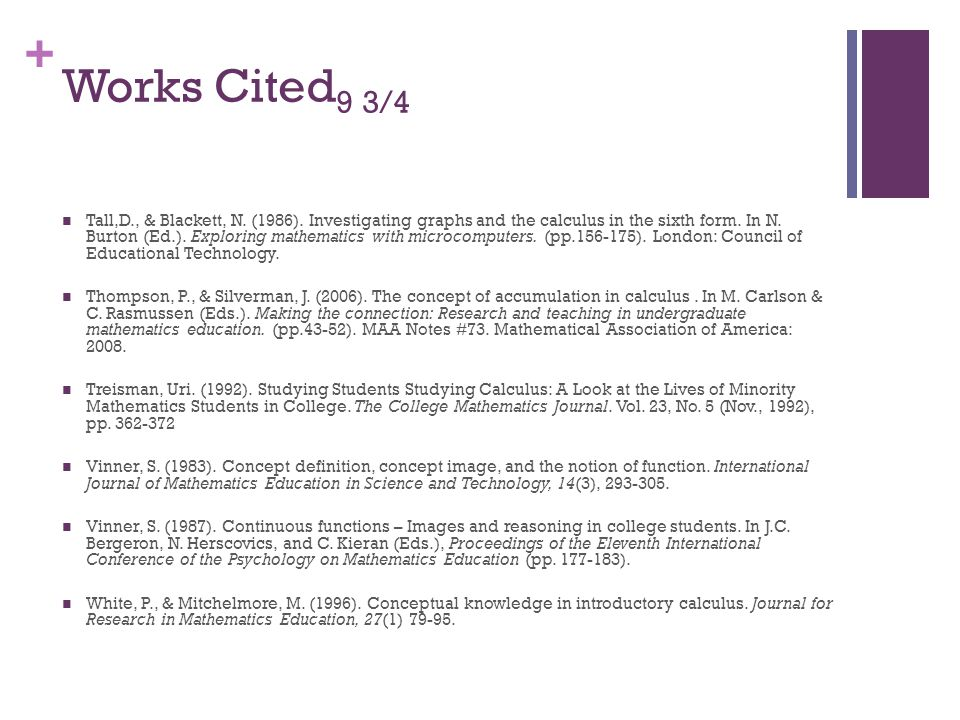 + Works Cited 9 3/4 Tall,D., & Blackett, N. (1986).