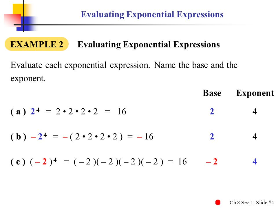 Ch 8 Sec 1: Slide #4 Evaluating Exponential Expressions EXAMPLE 2 Evaluating Exponential Expressions Evaluate each exponential expression. Name the ba