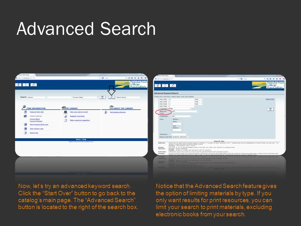 Advanced Search Now, let's try an advanced keyword search.