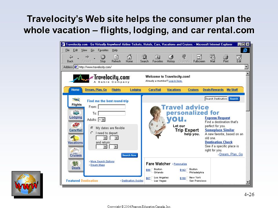 Copyright © 2004 Pearson Education Canada, Inc. 4-26 Travelocity's Web site helps the consumer plan the whole vacation – flights, lodging, and car ren