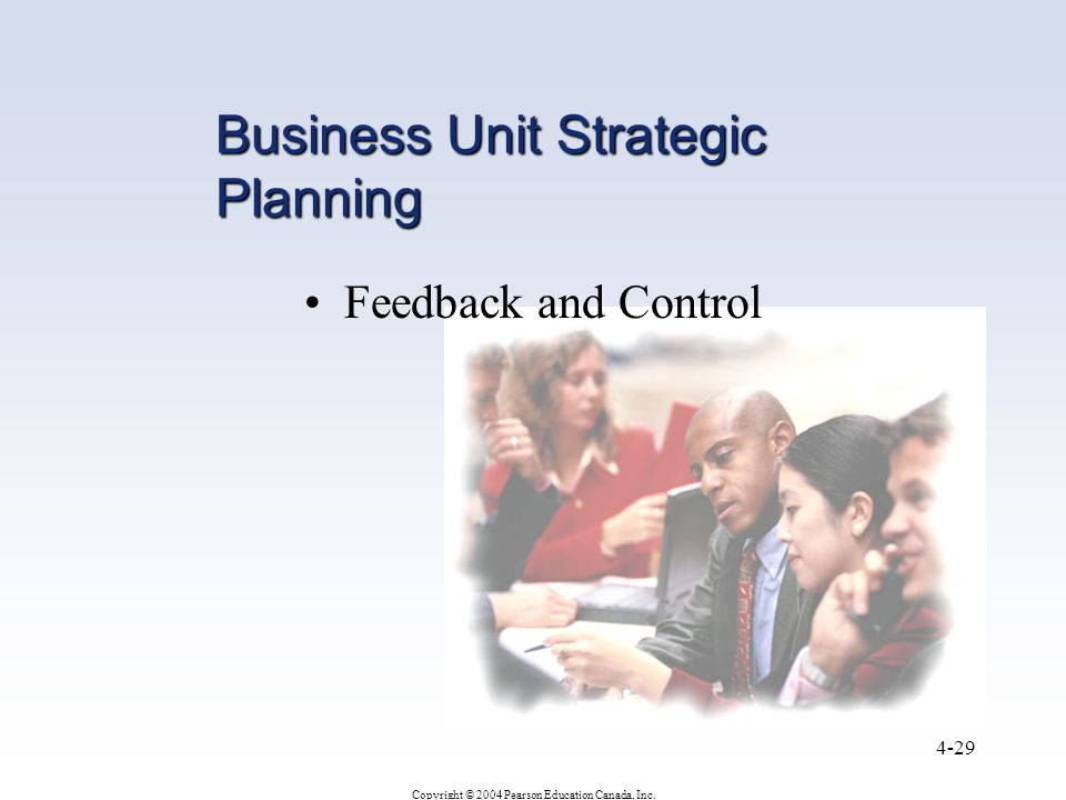 Copyright © 2004 Pearson Education Canada, Inc. 4-29 Business Unit Strategic Planning Feedback and Control