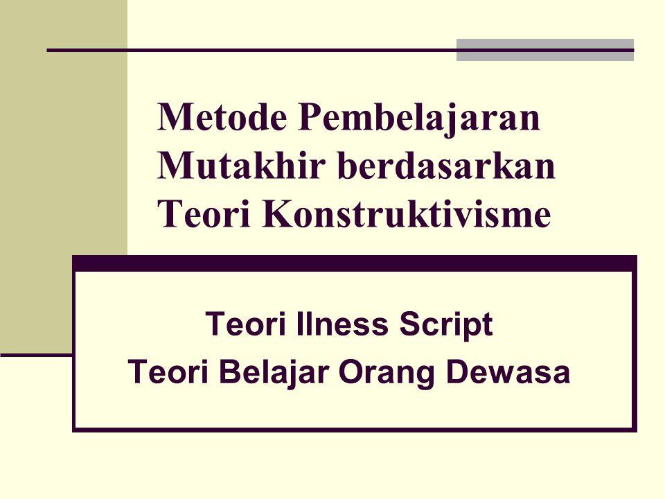 Metode Pembelajaran Mutakhir berdasarkan Teori Konstruktivisme Teori Ilness Script Teori Belajar Orang Dewasa