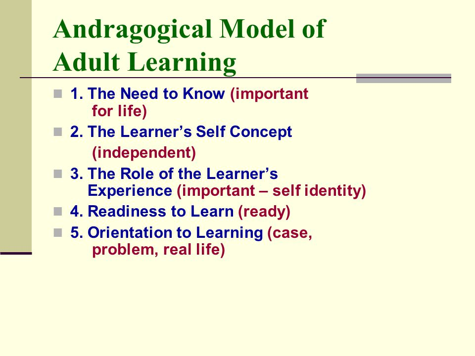 Andragogical Model of Adult Learning 1.The Need to Know (important for life) 2.