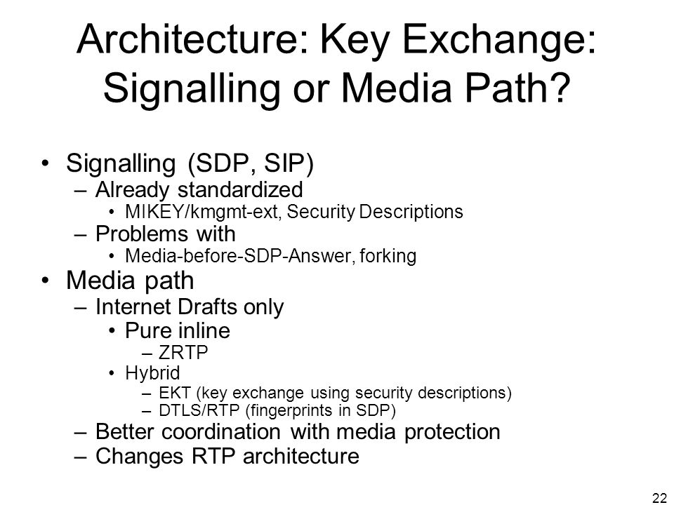 22 Architecture: Key Exchange: Signalling or Media Path? Signalling (SDP, SIP) –Already standardized MIKEY/kmgmt-ext, Security Descriptions –Problems