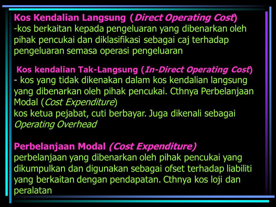 Kos Kendalian Langsung (Direct Operating Cost) -kos berkaitan kepada pengeluaran yang dibenarkan oleh pihak pencukai dan diklasifikasi sebagai caj terhadap pengeluaran semasa operasi pengeluaran Kos kendalian Tak-Langsung (In-Direct Operating Cost) - kos yang tidak dikenakan dalam kos kendalian langsung yang dibenarkan oleh pihak pencukai.