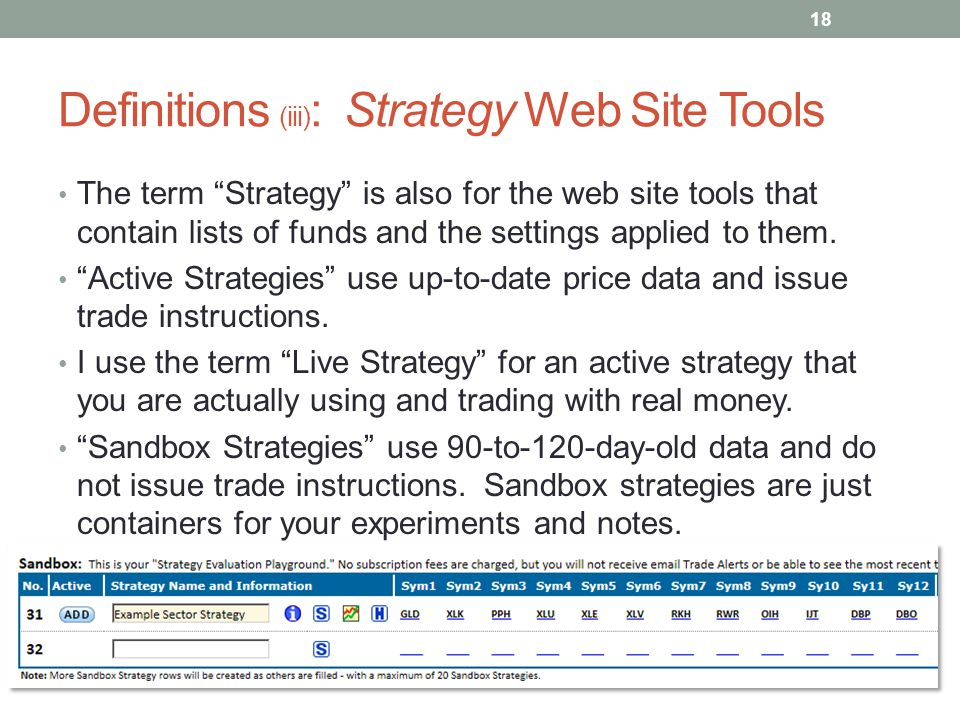 "Definitions (iii) : Strategy Web Site Tools The term ""Strategy"" is also for the web site tools that contain lists of funds and the settings applied to"