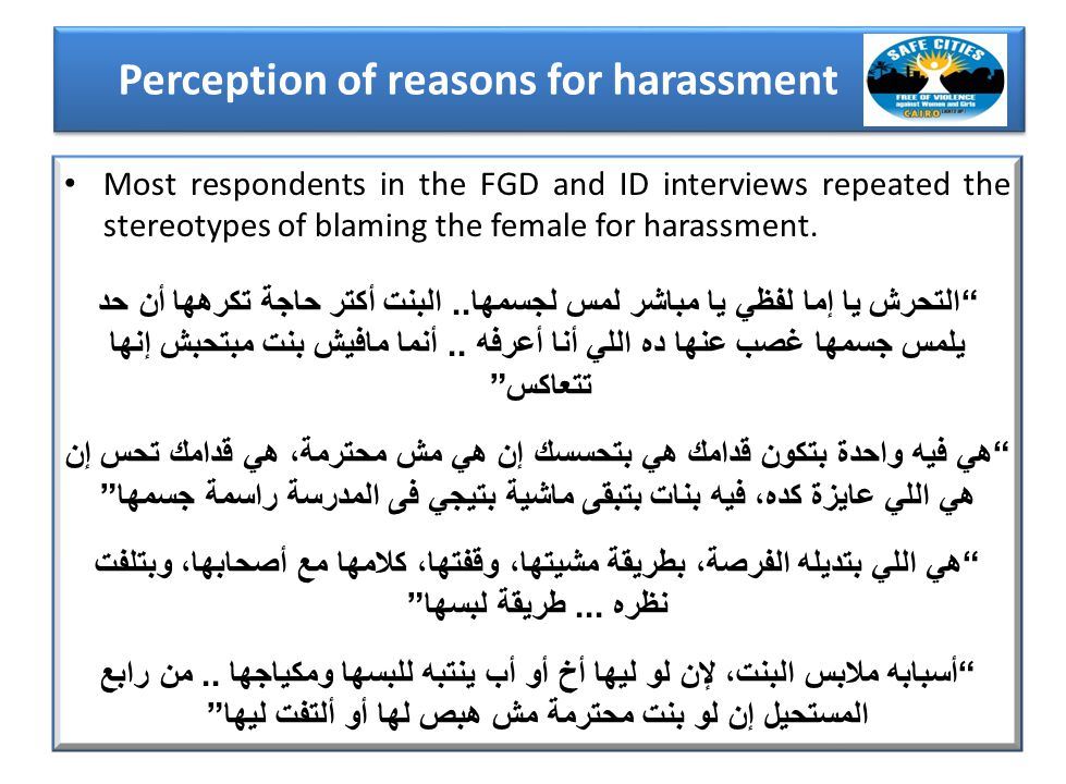 Most respondents in the FGD and ID interviews repeated the stereotypes of blaming the female for harassment.
