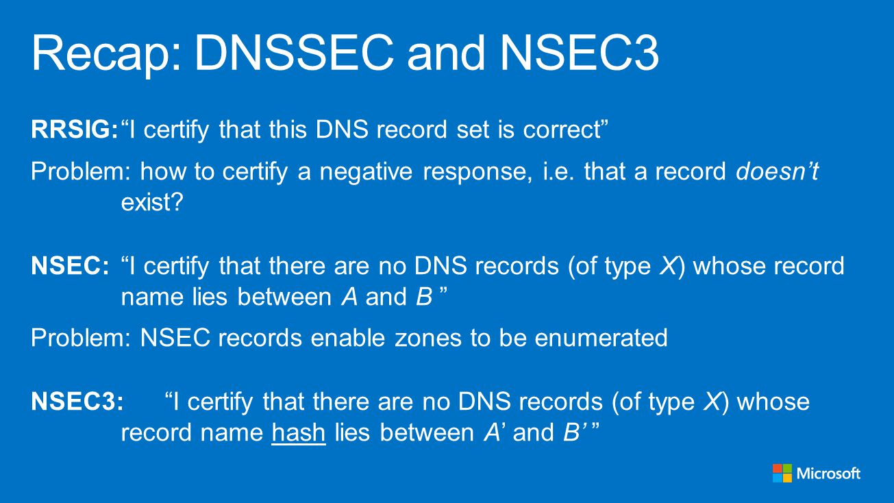 RRSIG: I certify that this DNS record set is correct Problem: how to certify a negative response, i.e.