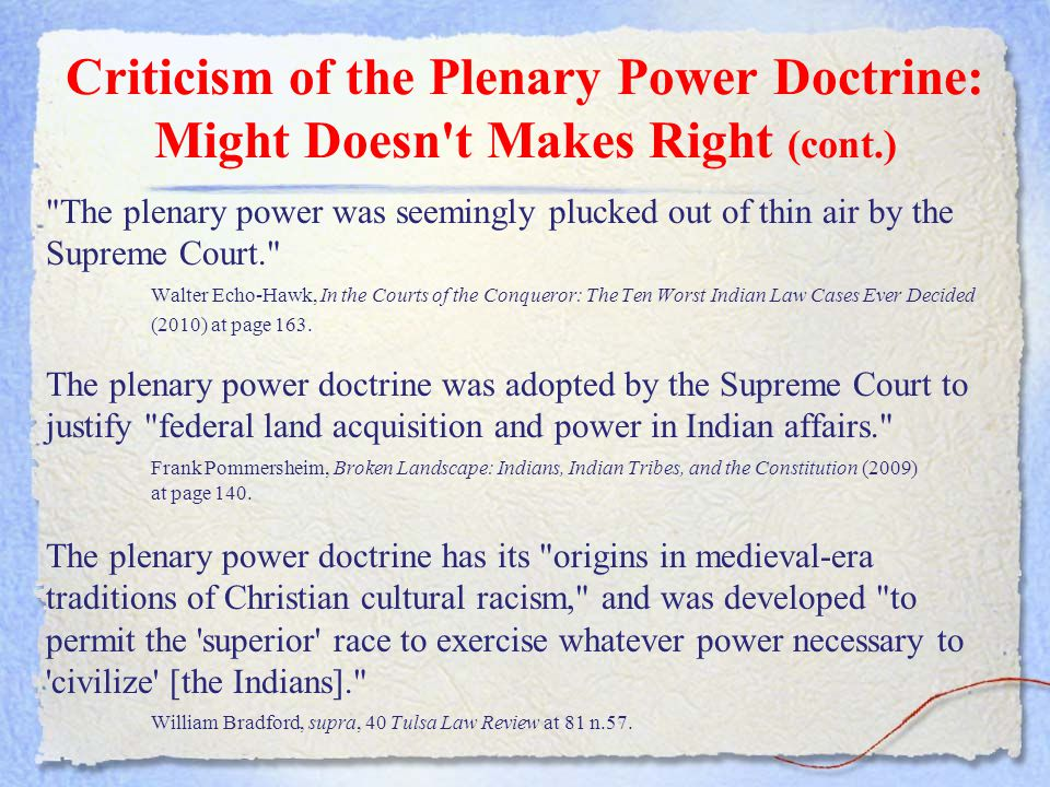 Criticism of the Plenary Power Doctrine: Might Doesn't Makes Right (cont.)