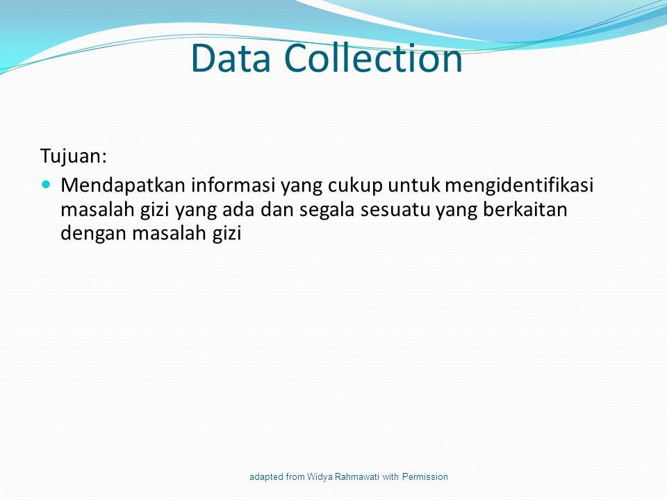 Data Collection Tujuan: Mendapatkan informasi yang cukup untuk mengidentifikasi masalah gizi yang ada dan segala sesuatu yang berkaitan dengan masalah