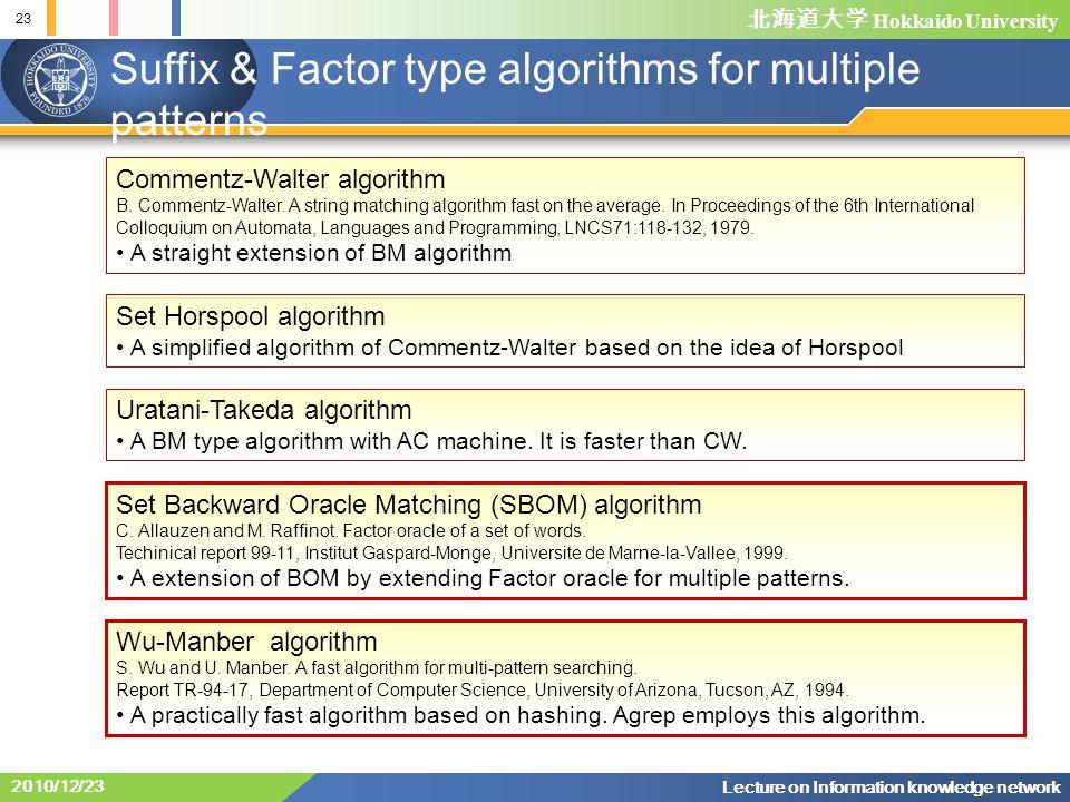 北海道大学 Hokkaido University 23 Lecture on Information knowledge network 2010/12/23 Suffix & Factor type algorithms for multiple patterns Commentz-Walter algorithm B.