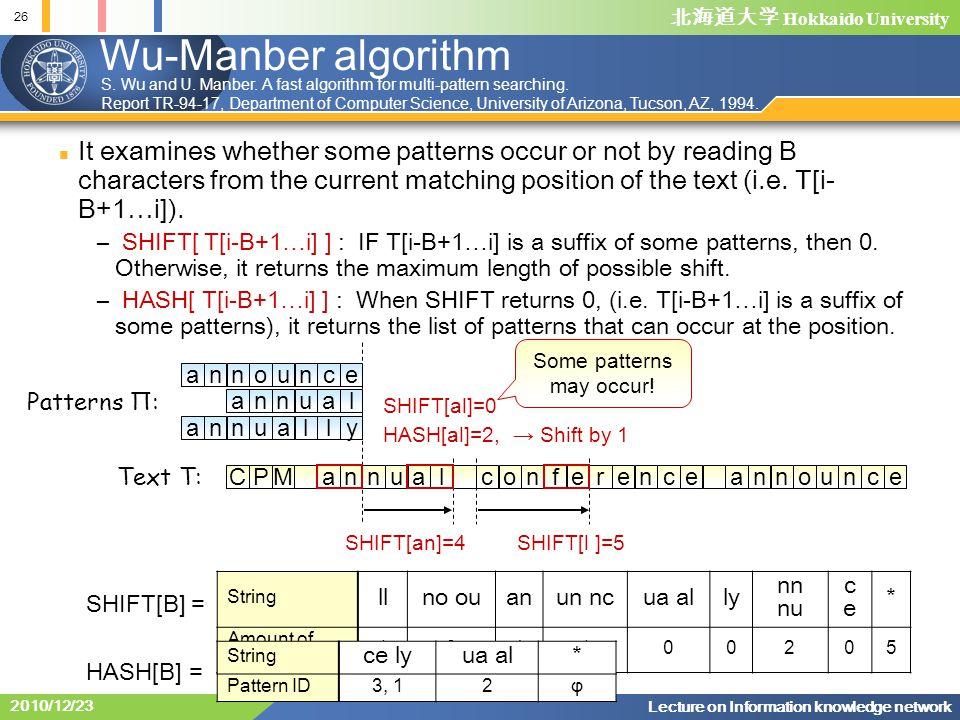 北海道大学 Hokkaido University 26 Lecture on Information knowledge network 2010/12/23 Wu-Manber algorithm It examines whether some patterns occur or not by reading B characters from the current matching position of the text (i.e.