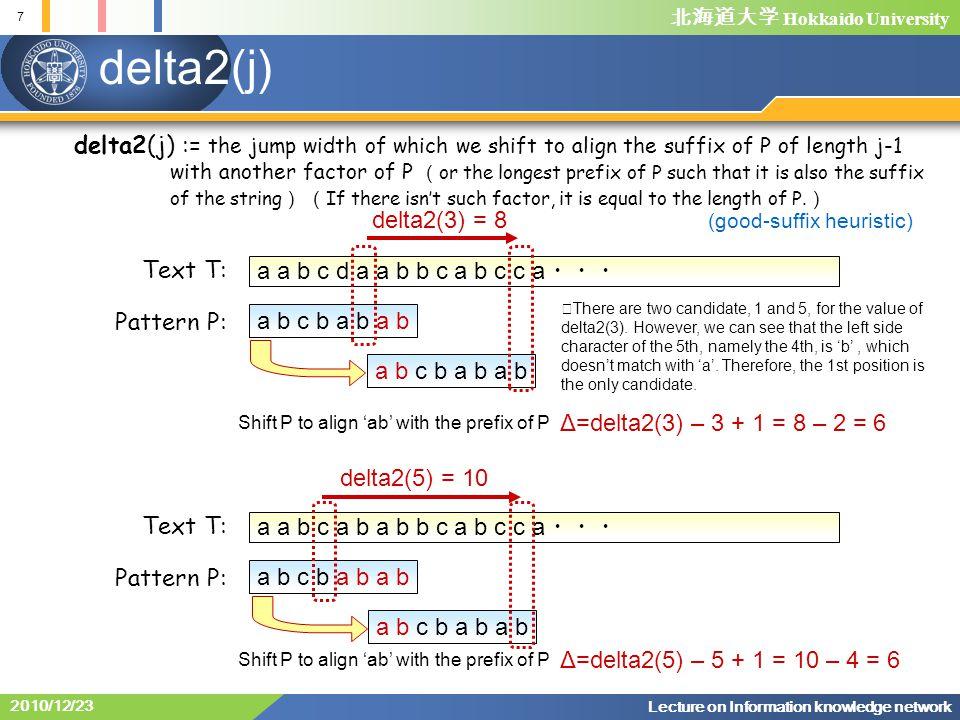 北海道大学 Hokkaido University 7 Lecture on Information knowledge network 2010/12/23 delta2(j) a a b c d a a b b c a b c c a ・・・ a b c b a b a b Shift P to align 'ab' with the prefix of P delta2(j) := the jump width of which we shift to align the suffix of P of length j-1 with another factor of P ( or the longest prefix of P such that it is also the suffix of the string ) ( If there isn't such factor, it is equal to the length of P.