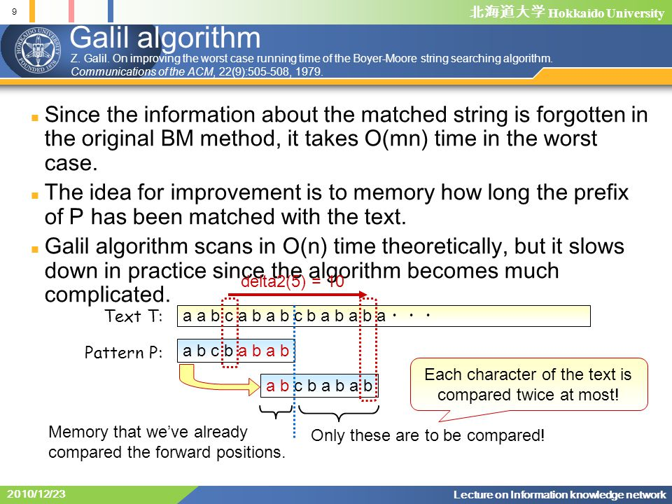 北海道大学 Hokkaido University 9 Lecture on Information knowledge network 2010/12/23 Galil algorithm Since the information about the matched string is forgotten in the original BM method, it takes O(mn) time in the worst case.