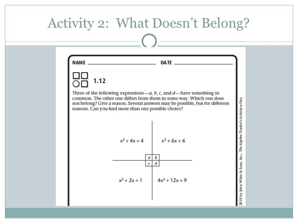 Activity 2: What Doesn't Belong?