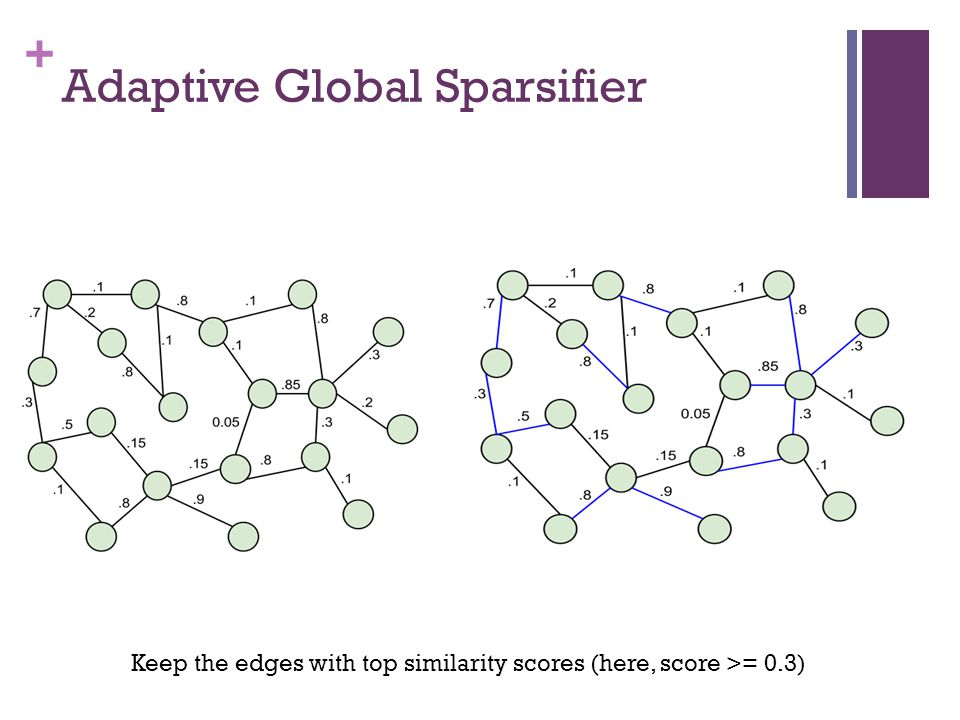 + Adaptive Global Sparsifier Keep the edges with top similarity scores (here, score >= 0.3)