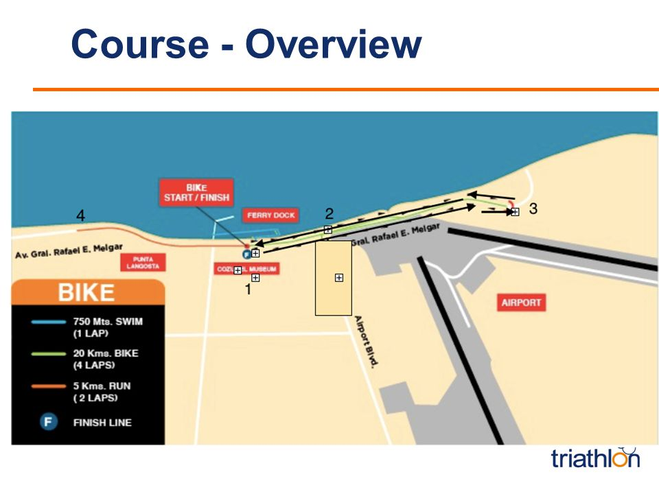 Course - Overview insert mapp Elite Sprint World Cup Swim / 750m / 1 lap Bike / 21.3km / 4 laps Run / 5km / 2 laps