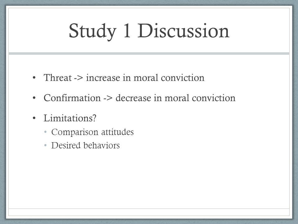 Study 1 Discussion Threat -> increase in moral conviction Confirmation -> decrease in moral conviction Limitations? Comparison attitudes Desired behav