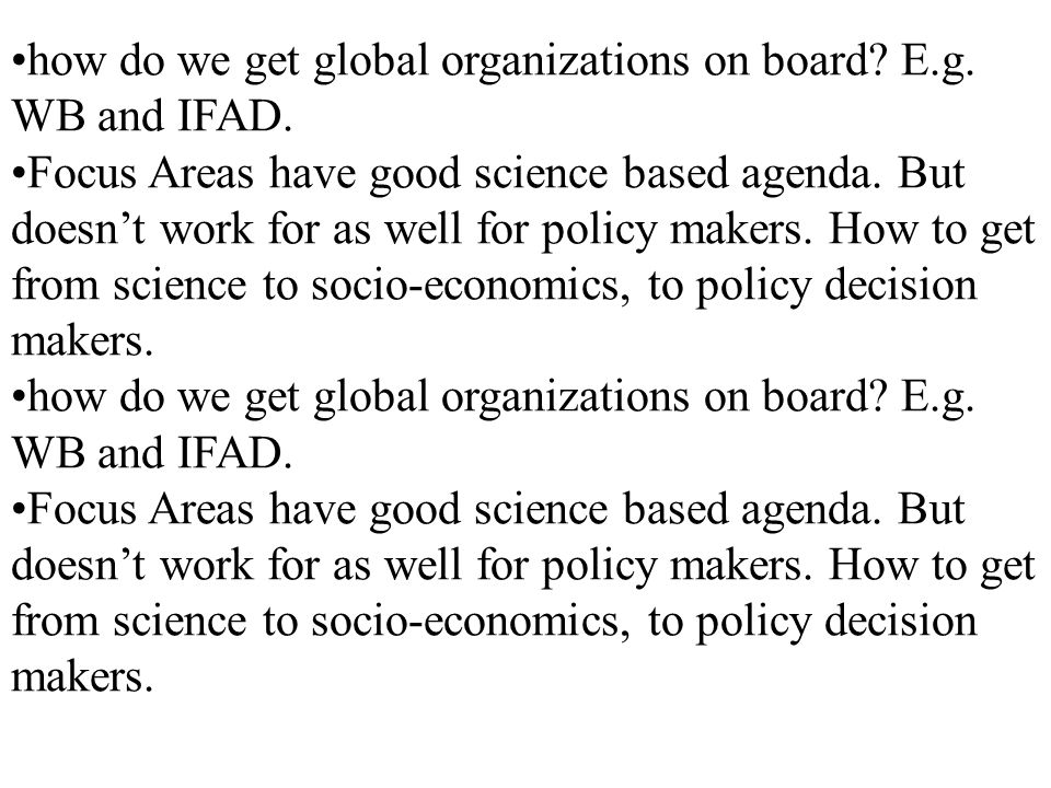 how do we get global organizations on board. E.g.