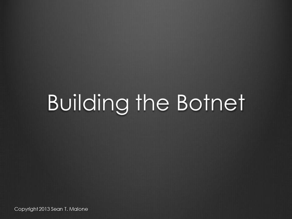 Building the Botnet Copyright 2013 Sean T. Malone
