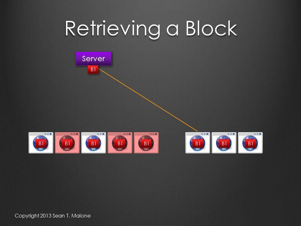 Retrieving a Block Server B1 Copyright 2013 Sean T. Malone