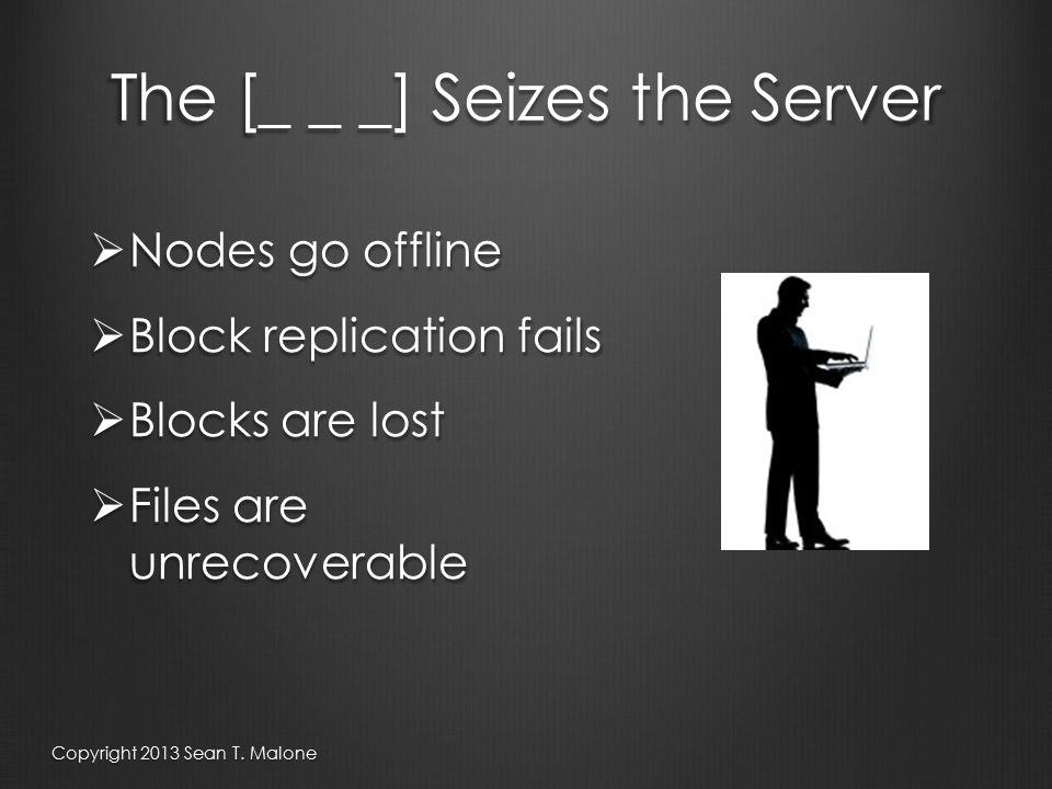 The [_ _ _] Seizes the Server  Nodes go offline  Block replication fails  Blocks are lost  Files are unrecoverable Copyright 2013 Sean T.
