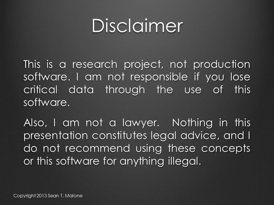 Disclaimer This is a research project, not production software.