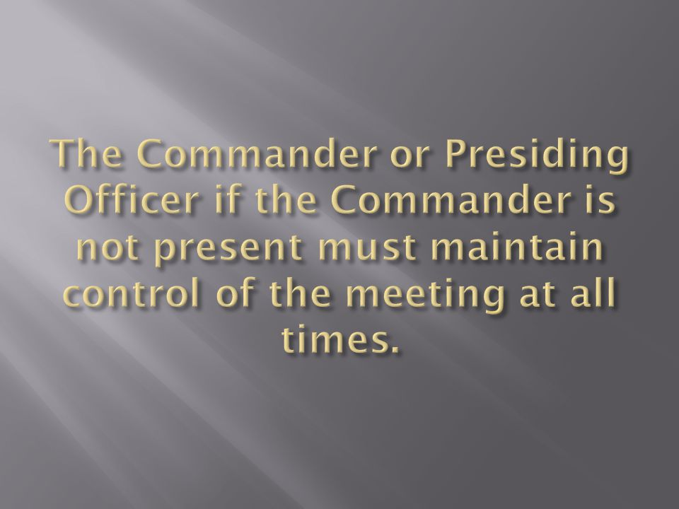 Everything is directed to the Commander!