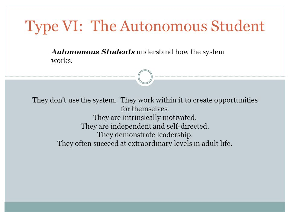 Type VI: The Autonomous Student Autonomous Students understand how the system works.