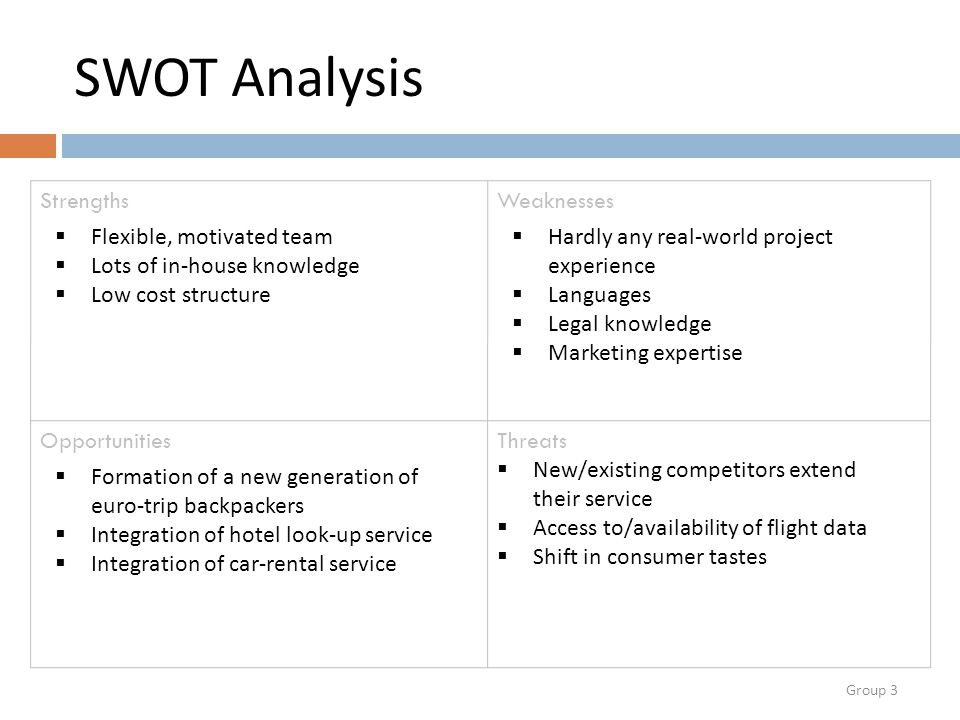Group 3 SWOT Analysis StrengthsWeaknesses OpportunitiesThreats  Flexible, motivated team  Lots of in-house knowledge  Low cost structure  Hardly any real-world project experience  Languages  Legal knowledge  Marketing expertise  Formation of a new generation of euro-trip backpackers  Integration of hotel look-up service  Integration of car-rental service  New/existing competitors extend their service  Access to/availability of flight data  Shift in consumer tastes