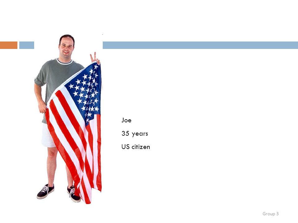 Group 3 Joe 35 years US citizen