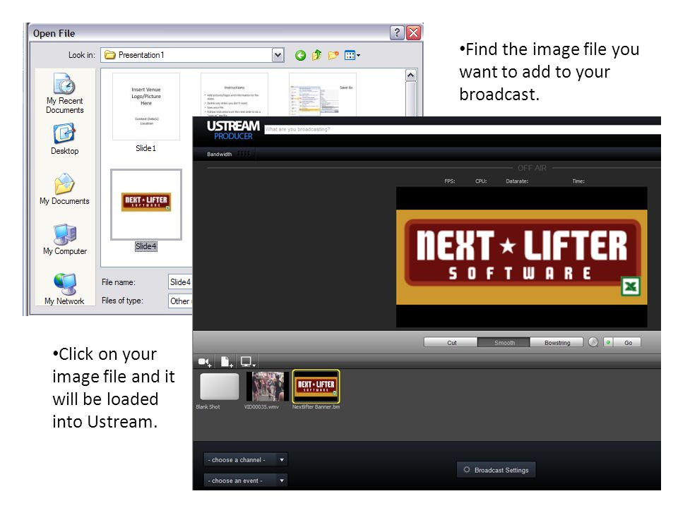 7 Find the image file you want to add to your broadcast.