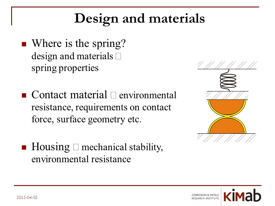 2015-04-03 Design and materials Where is the spring? design and materials  spring properties Contact material  environmental resistance, requiremen