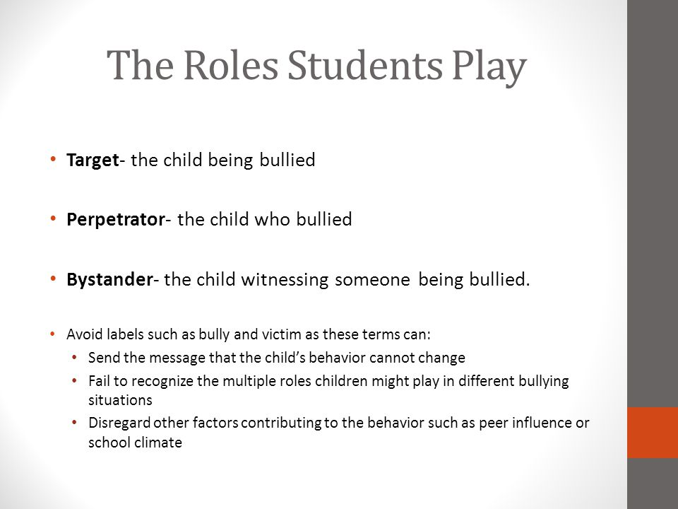 The Roles Students Play Target- the child being bullied Perpetrator- the child who bullied Bystander- the child witnessing someone being bullied. Avoi