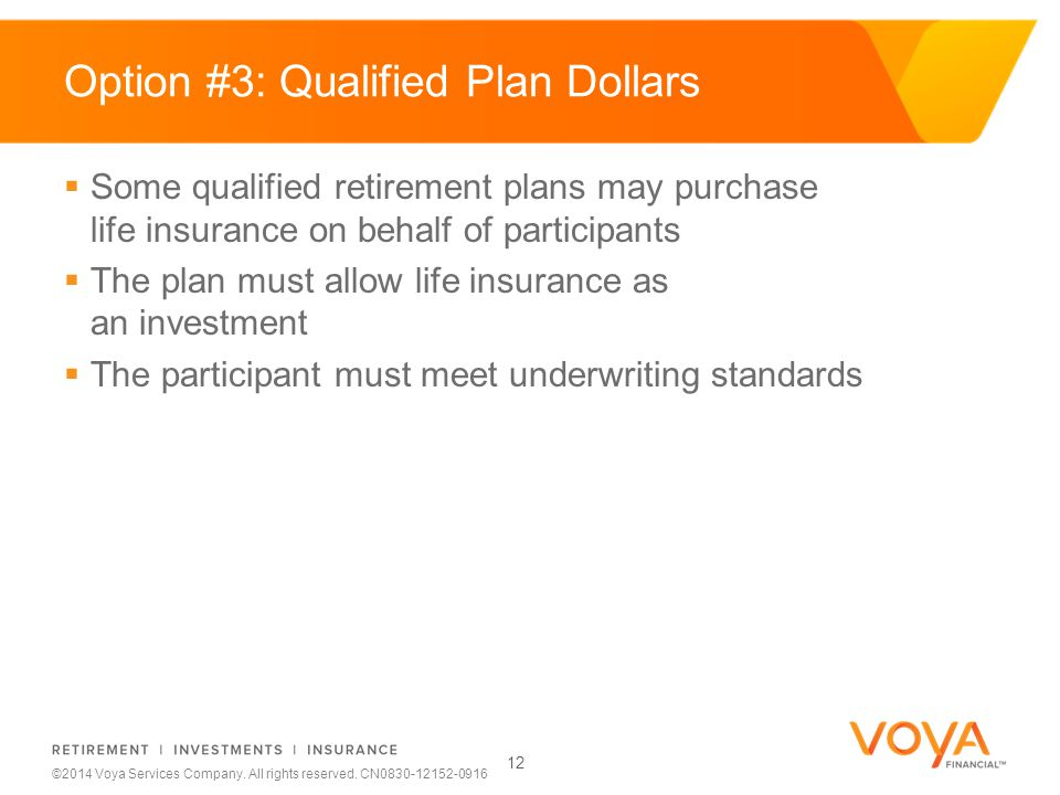 Do not put content on the brand signature area ©2014 Voya Services Company. All rights reserved. CN0830-12152-0916 Option #3: Qualified Plan Dollars 1