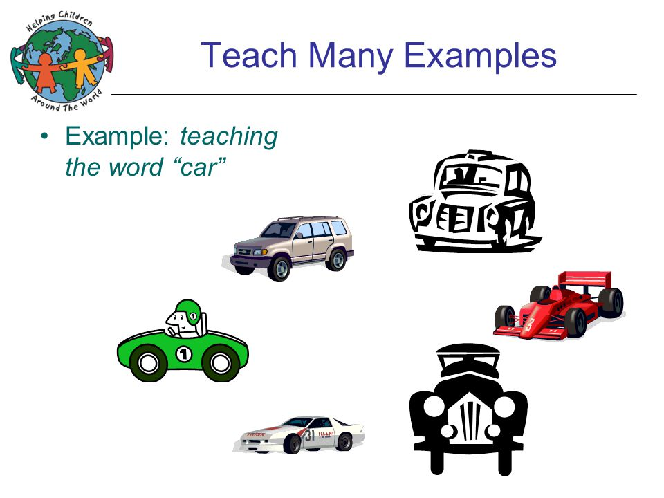 Teach Many Examples Example: teaching the word car