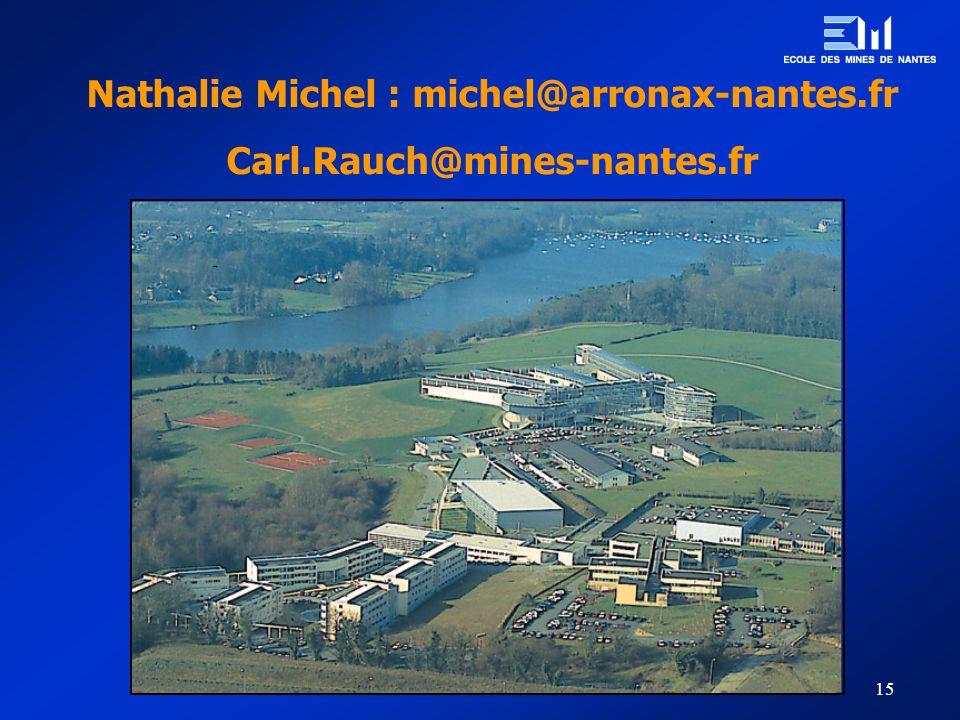 15 Nathalie Michel : michel@arronax-nantes.fr Carl.Rauch@mines-nantes.fr