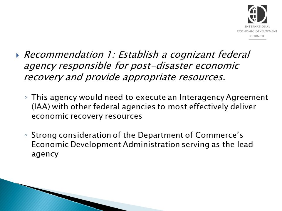 Recommendation 1: Establish a cognizant federal agency responsible for post-disaster economic recovery and provide appropriate resources.