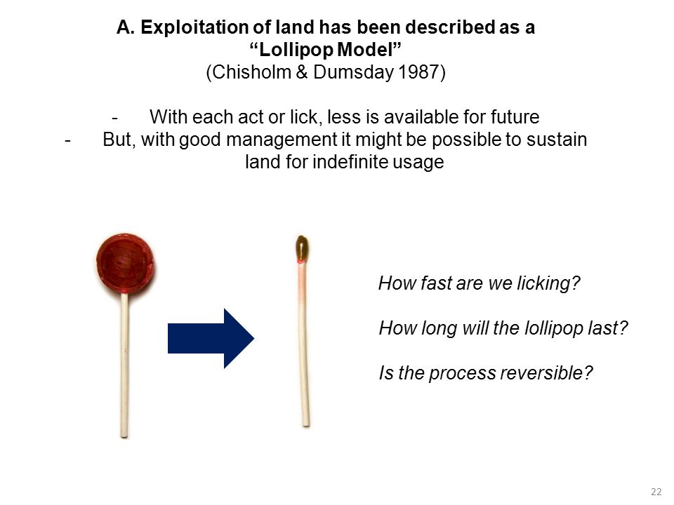 """22 A. Exploitation of land has been described as a """"Lollipop Model"""" (Chisholm & Dumsday 1987) -With each act or lick, less is available for future -Bu"""