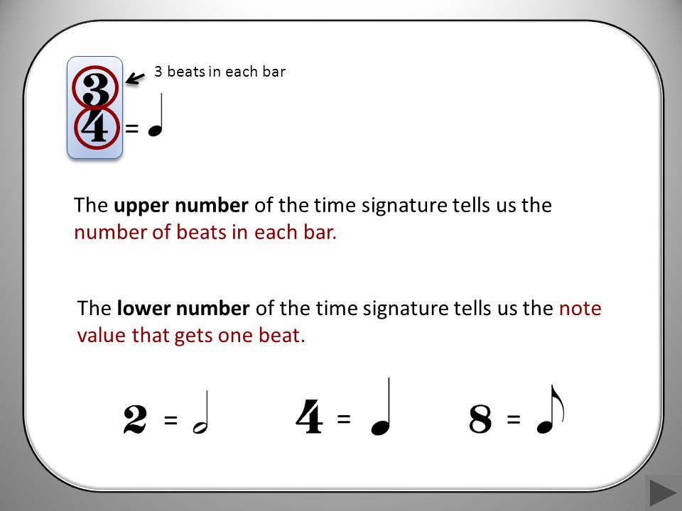 w > (w) m w > w m (w) > (w) (m) When music doesn't begin on a strong beat, an incomplete bar is added at the beginning.
