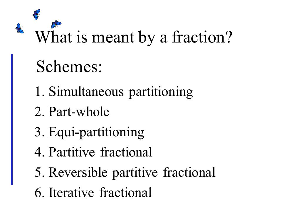 Two types of fractions A partitioned fraction is always a fraction of something.