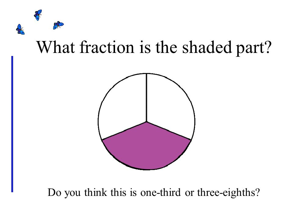 Do you think this is one-third or three-eighths What fraction is the shaded part