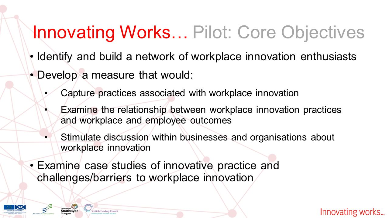Identify and build a network of workplace innovation enthusiasts Develop a measure that would: Capture practices associated with workplace innovation