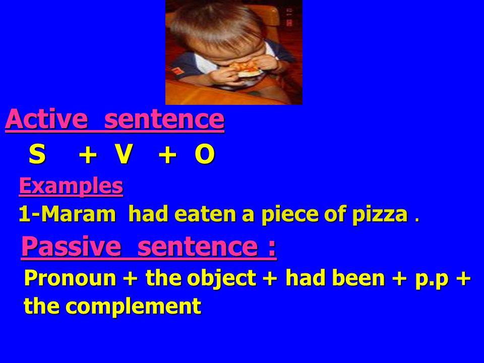 r Active sentence S + V + O S + V + O Examples Examples 1-Maram had eaten a piece of pizza.