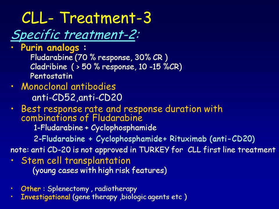 CLL- Treatment-3 Specific treatment-2: Purin analogs : Fludarabine (70 % response, 30% CR ) Cladribine ( > 50 % response, 10 -15 %CR) Pentostatin Mono