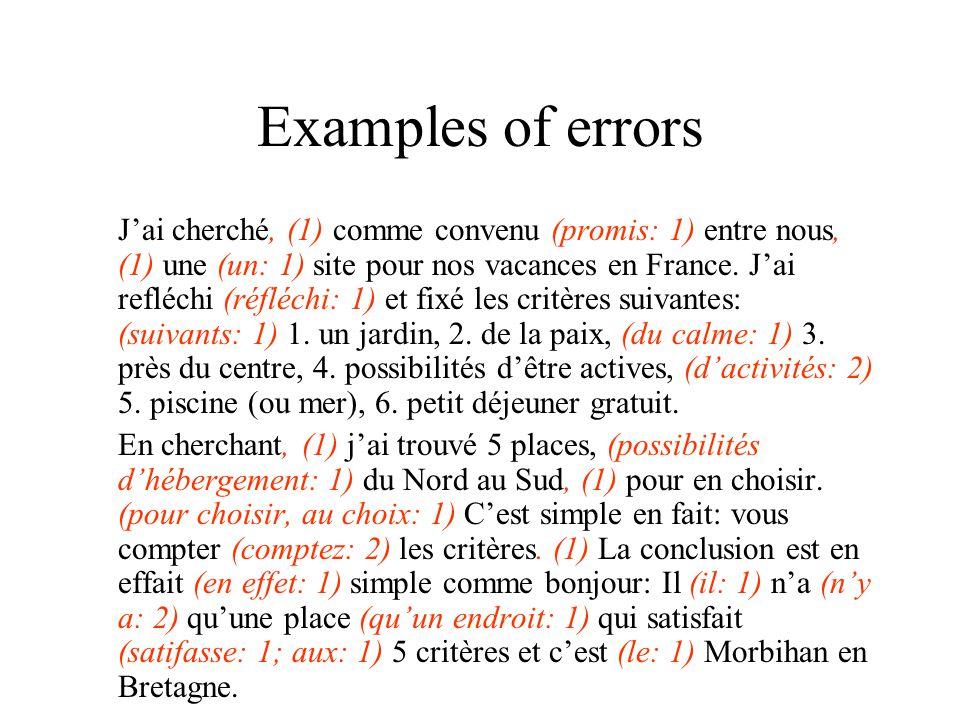 Examples of errors J'ai cherché, (1) comme convenu (promis: 1) entre nous, (1) une (un: 1) site pour nos vacances en France. J'ai refléchi (réfléchi: