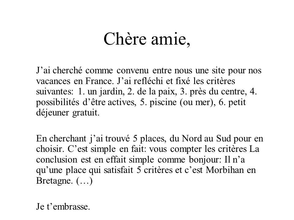 Chère amie, J'ai cherché comme convenu entre nous une site pour nos vacances en France. J'ai refléchi et fixé les critères suivantes: 1. un jardin, 2.