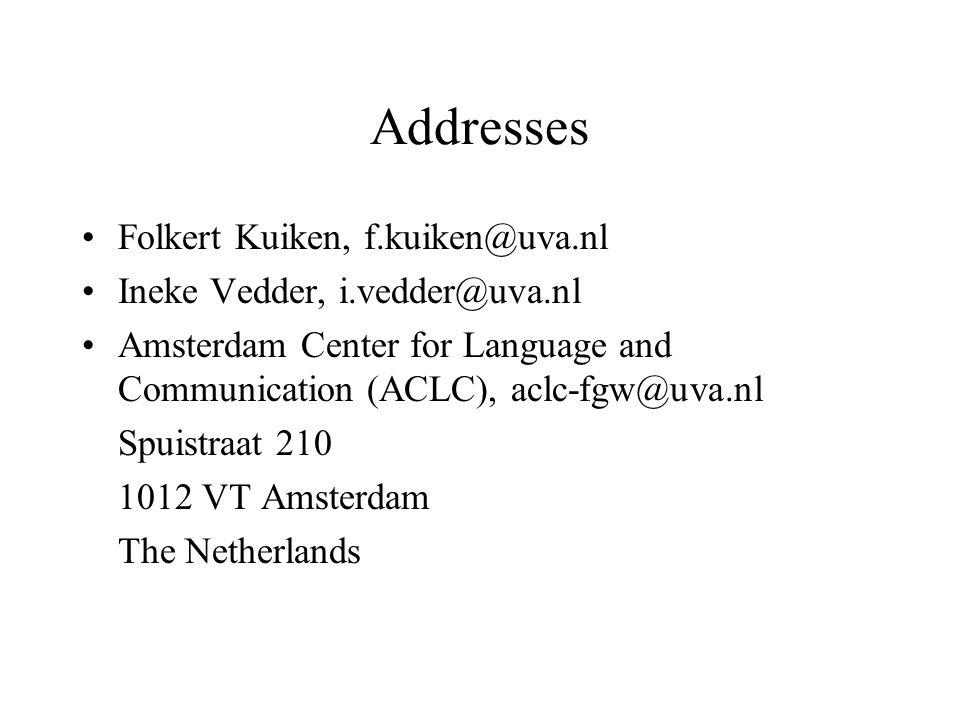 Addresses Folkert Kuiken, f.kuiken@uva.nl Ineke Vedder, i.vedder@uva.nl Amsterdam Center for Language and Communication (ACLC), aclc-fgw@uva.nl Spuist