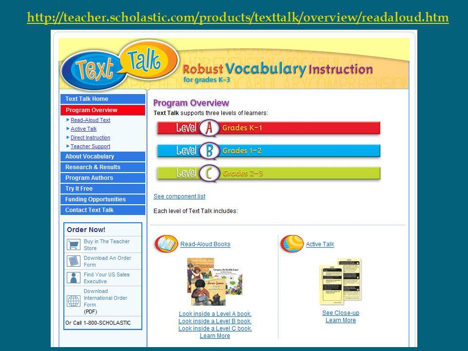 http://teacher.scholastic.com/products/texttalk/overview/readaloud.htm