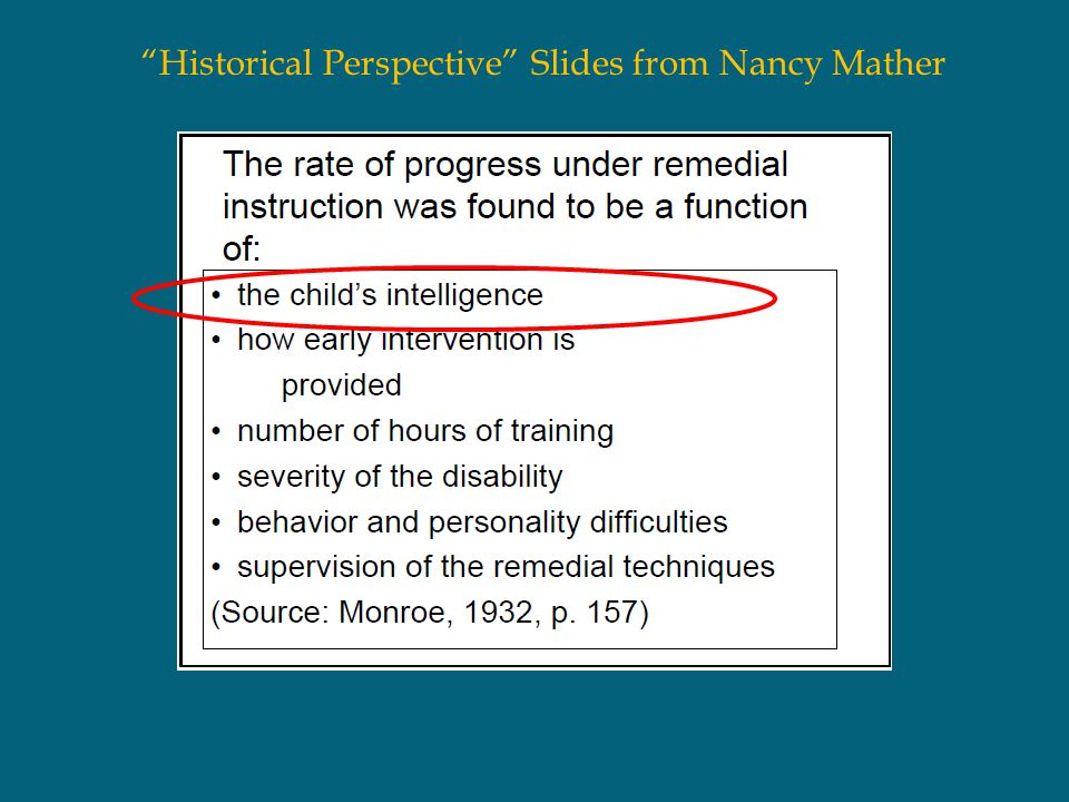 """""""Historical Perspective"""" Slides from Nancy Mather"""